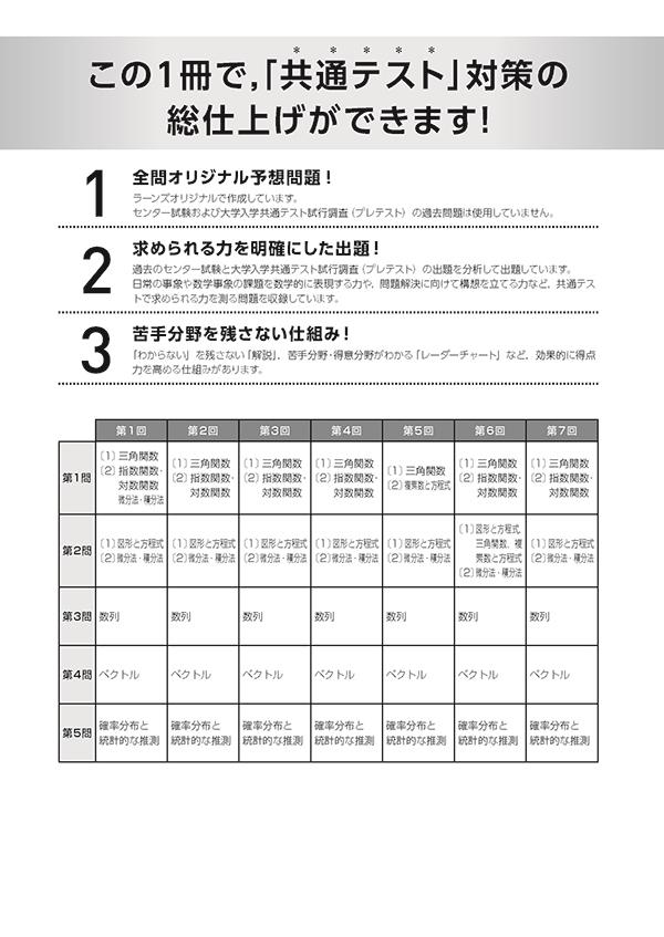 2021共通テスト対策【実力完成】直前演習 数学�U・B(バラ版)「出題構成」