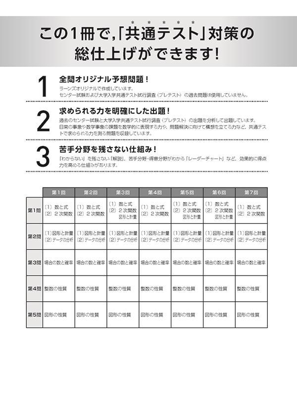 2021共通テスト対策【実力完成】直前演習 数学�T・A(問題冊子・解答バラ版)「出題構成」