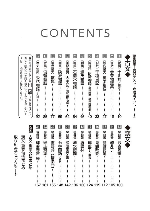 2021共通テスト対策【実力養成】重要問題演習 古典:冊子版「目次」