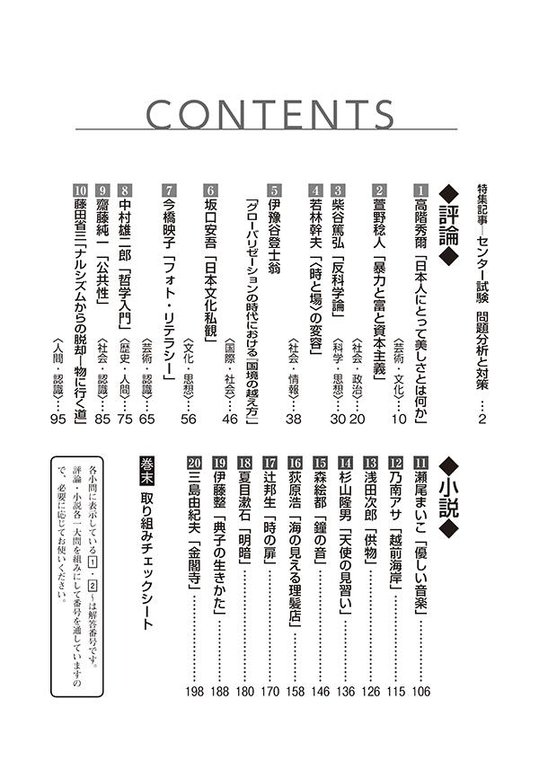 2020進研[センター試験]対策国語 重要問題演習 現代文:解答バラ版「目次」