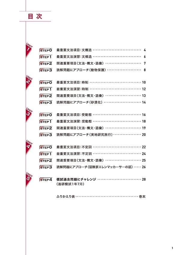 進研WINSTEP 短期集中 高1英語 Vol.1(7月模試に向けて)[改訂版]「目次」