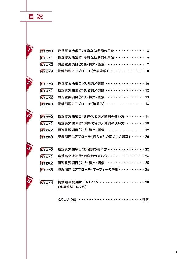 進研WINSTEP 短期集中 高2英語 Vol.1(7月模試に向けて)[改訂版]「目次」