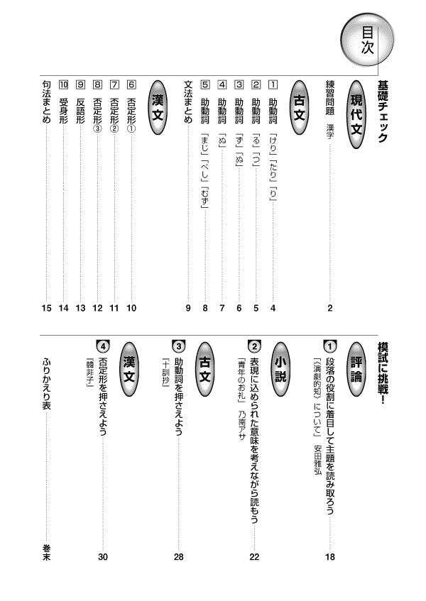 進研WINSTEP 短期集中 高1国語 Vol.2(11月模試に向けて)[改訂版]「目次」